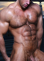 Muscule men Zeb shows his hairy muscled chest and big cock
